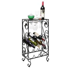 Best Wine Rack | 16 Bottle and 8 Wine Glass French Grapevine Motif Wine Storage Organizer  Display Rack -- See this great product. Note:It is Affiliate Link to Amazon.