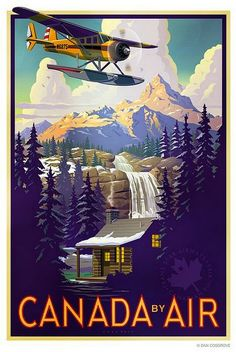 Retro Vintage Canada by Air vintage travel poster ~ waterfalls, cabin, bi plane -