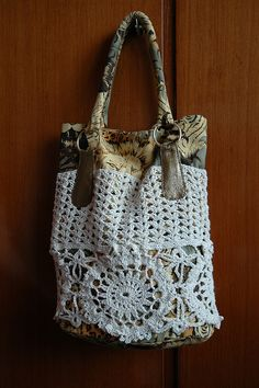 Fabric, Crochet & Doily Bag ~ Inspiration!