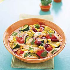 Chicken Tortilla Soup -- This Tex-Mex soup is packed full of protein and veggies to keep you full, just make sure you're using low-sodium chicken broth. #myplate #vegetables #protein