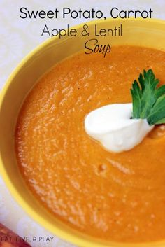 This silky smooth sweet potato soup has fiber rich foods like sweet potatoes and lentils which will help assist with weight loss and managing stress!