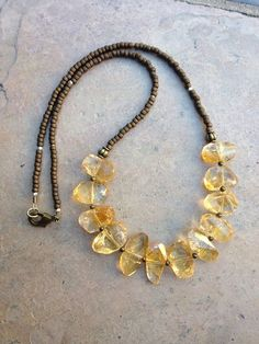 Citrine and Brass Necklace, chunky citrine necklace, citrine nugget necklace Gemstone Jewelry, Beaded Jewelry, Jewelry Necklaces, Handmade Jewelry, Bracelets, Pandora Jewelry, Unique Jewelry, Brass Necklace, Diy Necklace
