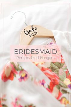 This personalized bridesmaid hanger for the bride and bridesmaids is a unique idea for your wedding hanger dress photos and for your bridal party as a keepsake to remember for years to come! Perfect for the brides wedding dress and for the entire wedding party. bridesmaid gifts, bridesmaid boxes, getting ready outfit, bridal robe, wedding ideas, wedding photo ideas, bridesmaid proposal Monogrammed Bridesmaid Gifts, Bridesmaid Gifts Unique, Bridesmaid Gift Bags, Bridesmaid Proposal, Personalized Wedding, Bridesmaids, Bridal Hangers, Wedding Dress Hanger, The Wedding Date