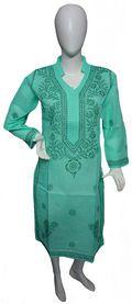 Self Design Chikan Kurti Lakhnavi Kurti List price: Rs1199   Rs545 You save: Rs654 (55%)  Specifications . Fabric: 100% Cotton . Self Design Chikankari . Color : Aqua Green