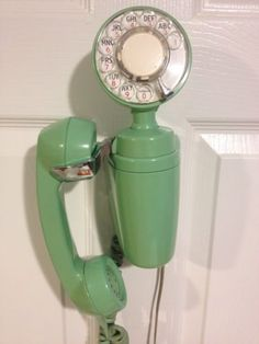 RARE Aecd Green Jadeite Rotary Space Saver Wall Telephone Phone