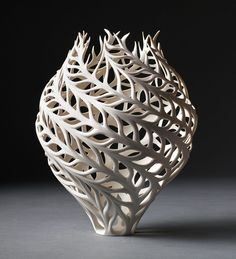 Guided in her ceramics studio by nature's symmetrical and asymmetrical forms, artist Jennifer McCurdy works with inspiration from everyday objects, producing vessels that imitate natural specimens such as malformed conch shells and burst milkweed pods. Her sculptures are habitually one color, a whit