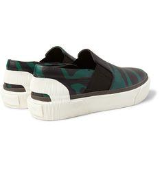 LANVIN Zebra-Print Grained-Leather Slip-On Sneakers