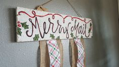Merry Mail Wooden Christmas Card Holder by TheJunkBarn on Etsy