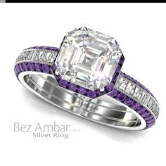 A Silvet Amethyst engagement ring with a 1.01ct Asscher cut diamond center, under bezel amethyst frame and Blaze® diamonds set shank.