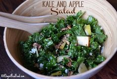 """This kale and apple salad may be just for the adult table though, if I am being honest. I don't know about your kids, but my girls have never been big blue cheese fans (they've dubbed it """"stinky cheese"""" for obvious reasons), and no matter how hard I try, I can't really get them into raw kale lately either."""