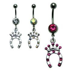 Crowned Horseshoe CZ Dangle Belly Ring Surgical Steel