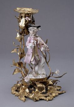 """"""" Candlestick with a monkey-violinist """", known from Meissen porcelain manufactory, 1753 Porcelain , bronze - Hermitage , St. Petersburg"""