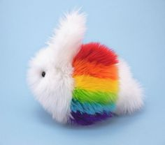 Rainbow White Cute Fluffy Bunny Rabbit Plush Stuffed Toy - 6x10 Inches Large Size Stuffed Animal