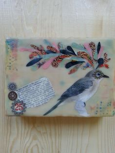 Encaustic Painting Mixed Media Bird Collage by HighHopeDesigns