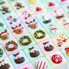 . Christmas Tea, Christmas Sweets, Christmas Cookies, Xmas, Mini Cookies, Iced Cookies, Cake Decorating Tips, Cookie Decorating, Japanese Cookies