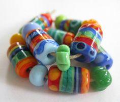 SRA Lampwork Beads Bright Happy Hippie Glass Beads. Lampwork Beads by Beth Singleton
