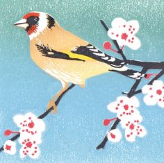 'Goldfinch and Blossom' By Printmaker Lynda Durrant. Blank Art Cards By Green Pebble. www.greenpebble.co.uk