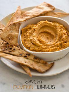 Savory Pumpkin Hummus recipe - Vegetarian & Vegan Recipes http://veggiefocus.com