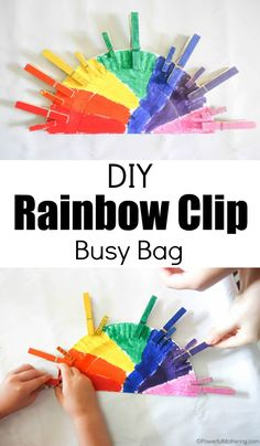 Create a beautiful rainbow busy bag to enforce fine motor, color identification, and grasping skills with clothespins (pegs). Great for early preschoolers who are just getting the hang of clothespin usage. Rainbow Activities, Quiet Time Activities, Preschool Learning Activities, Color Activities, Preschool Activities, Preschool Colors, Rainbow Crafts Preschool, Preschool Kindergarten, Rainbow Theme