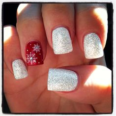 Theme: Winter Print: Snowflake Jeweled Color White glitter Red