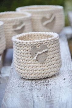 Crochet Rustic  Basket, Crochet  Basket leather hert, Cotton natural, Alternative Gift Bags,Wedding rustik Wedding,basket gift