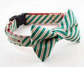 Green Peppermint Stick Bow Tie Dog Collar