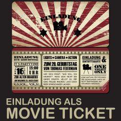 Kino Ticket Einladungskarten für Geburtstag & Hochzeit / Karte / Einladung