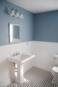 Black And White Tile With Dark Grout. With Glaze. I Prefer To Keep The · Blue  White BathroomsOld ... Part 51