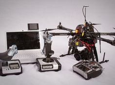 Ty Audronis' setup, complete with autonomous flight capability. The sticks on the right can control the drone directly, like a traditional RC, while the computer helps run a DJI guidance system.