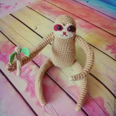 Toy Miniatures handmade. Livemaster - handmade. Buy Sloth amigurumi.Amigurumi, toy crochet, knitted toy, felt, holofayber