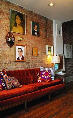 Portraits, Pillows and a Vintage Velvet Sofa Roomarks~love the red velvet sofa, Living Room Red, Eclectic Living Room, Living Room Colors, Living Room Sofa, Apartment Living, Living Room Decor, Apartment Therapy, Red Velvet Sofa, Red Sofa