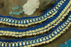 Blue Beaded Lace Trim / Skinny Ribbon Sari by WomanShopsWorld
