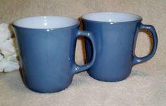 Set of 2 Pyrex Slate Blue Coffee Cups