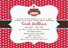 Sock Monkey Baby Shower Invitation by stylishcelebrations on Etsy, $12.00