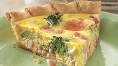 Ham and Broccoli Quiche1  refrigerated pie crust, brown crust.  1 1/2c. cubed cooked ham,1 1/2c. shredded Swiss cheese (6 oz)  1c. frozen broccoli florets, thawed, well drained on paper towel, 4eggs,1c. milk  1/2tsp salt, 1/2tsp dry ground mustard  1/2tsp pepper, Heat oven 375°F. Put pie crust in 9-in glass pie pan, Layer ham, cheese & broccoli in crust-lined pan.beat eggs  with fork. Stir in remaining ingredients. Pour over broccoli.Bake 35 - 45 min  Let stand 5 to 10 min.