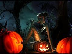 Pumpkins Girl Wallpaper | Free Desktop Wallpapers