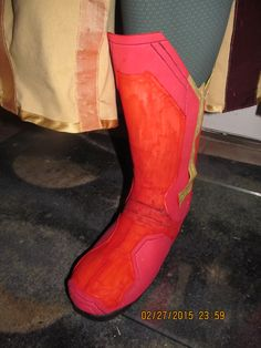 Closeup on current boot for Vision Cosplay Costume for Avengers: Age of Ultron.