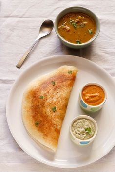 Mysore Masala Dosa with chutney, spice powder and sambhar on the side. Dosa's are sooo hard to find in the U|K