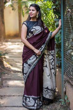 Dark purple soft cotton silk saree with printed Kalamkari border and pallu + black mirrorwork border #saree #blouse #houseofblouse #indian #bollywood #style #ethnic #soft #cottonsilk #purple #printed #kalamkari #border