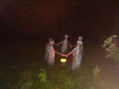 easy to make halloween decorations ghosts are plastic drop clothes u0026 wadded newspaper on plastic