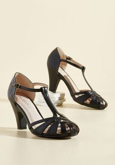 1920s1930s T strap heelss in Black. There Chic Goes Heel in Black $69.99 AT Vintagedancer.com