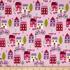 Around Town Town Pink from @fabricdotcom  Designed by Small Factory for StudioE Fabrics, this cotton print fabric is perfect for quilting, apparel and home decor accents. Colors include navy, red, fuchsia, pink, olive, lime, lavender, grey, yellow, pink, and white.