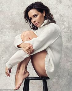 Fashion icon: Victoria Beckham models one of her label's own jumper for the coveted September issue of Vogue