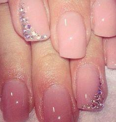 Natural pink polish with gem design