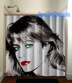 Retro Farrah Fawcett Shower Curtain Bathroom Home Decor Cool Shower Curtains, Farrah Fawcett, Printmaking, Bathing, Environment, Range, Cleaning, Detail, Studio