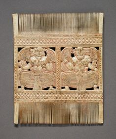 Comb with Two Women Sri Lanka, 18th century Jewelry and Adornments; combs Ivory with traces of paint