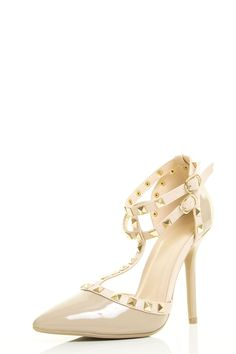 """Wild Diva Womens Pointy Toe Gold Stud Strappy Ankle T-Strap Stiletto Heel Pump Sandal 9 Natural. Features a pointy toe front, T-strap construction with studded details. Wrapped stiletto heel finished with lightly padded insole. Adjustable double ankle strap with buckle closure. Heel Height: 4.5"""" (Approx). Images were taken off from actual product, color may be slightly different due to different monitor display."""