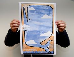 Flying Whale Giclee Print by KrisJohnsen on Etsy, $25.00