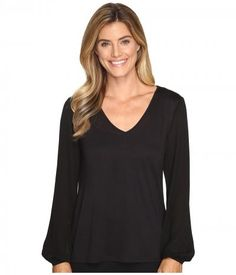 Lilla P - Full Sleeve V-Neck (Black) Women's Clothing