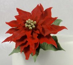 How to Make a Christmas Poinsettia Sugar Flower Gum Paste Cake Decoratin...